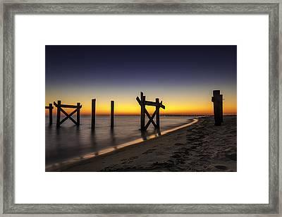 Sunset Pier Framed Print by CJ Bryant