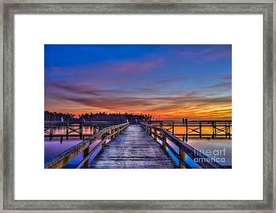 Sunset Pier Fishing Framed Print
