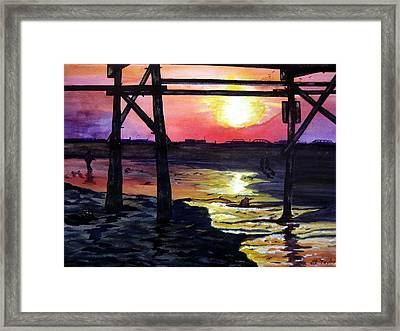 Framed Print featuring the painting Sunset Pier by Lil Taylor