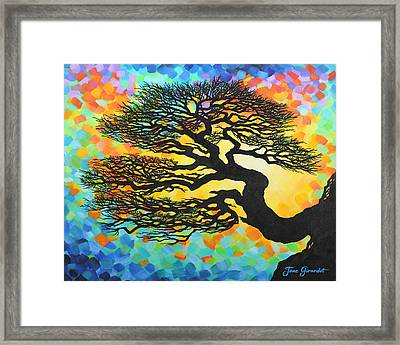 Framed Print featuring the painting Sunset Pine by Jane Girardot