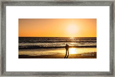 Sunset Pondering Framed Print by Julie Clements