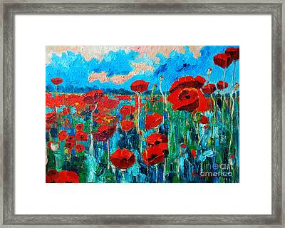 Sunset Poppies Framed Print by Ana Maria Edulescu