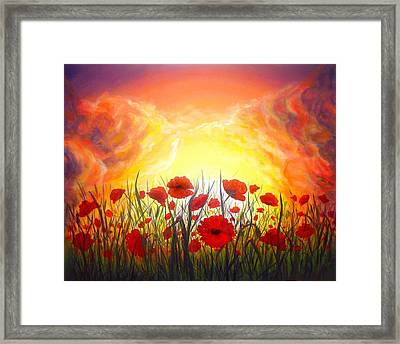 Framed Print featuring the painting Sunset Poppies by Lilia D