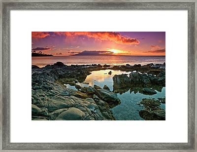Sunset Reflected In The Tranquil Tide Framed Print