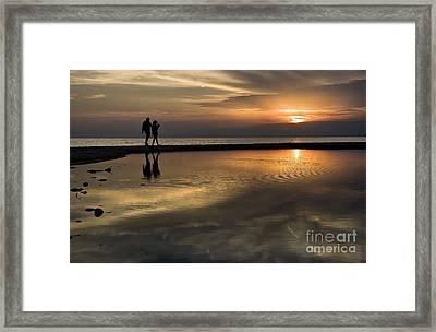 Sunset Reflection And Silhouettes Framed Print by Daliana Pacuraru