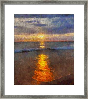 Sunset Reflection At Sleeping Bear Dunes Framed Print by Dan Sproul