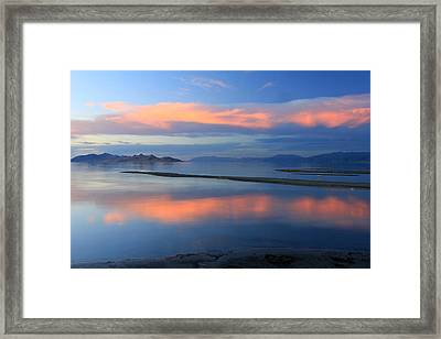 Sunset Reflection At The Great Salt Lake Framed Print by Johnny Adolphson