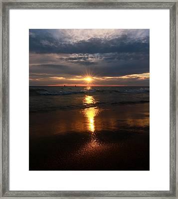 Sunset Reflection On Lake Michigan Framed Print