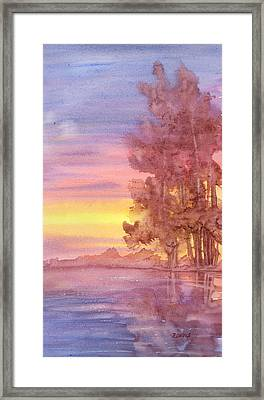 Framed Print featuring the painting Sunset Reflection by Rebecca Davis