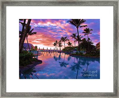 Framed Print featuring the photograph Sunset Reflection St Regis Pool by Michele Penner