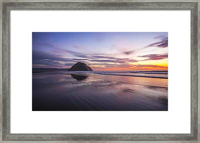 Sunset Reflections At Morro Bay Beach Rock Fine Art Photography Print Framed Print