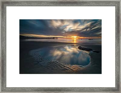 Sunset Reflections In San Diego Landscape Version Framed Print by Larry Marshall