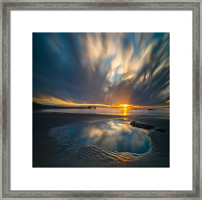 Sunset Reflections In San Diego Square Version Framed Print