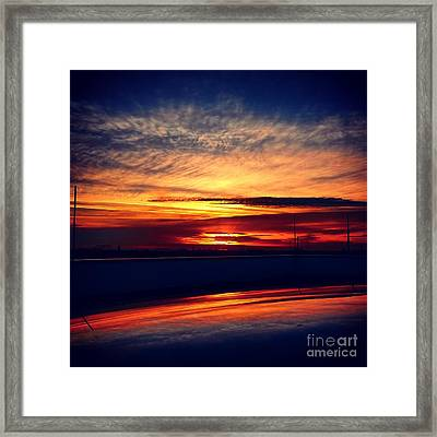 Sunset Puddle Reflections Framed Print by Jacks Skystore