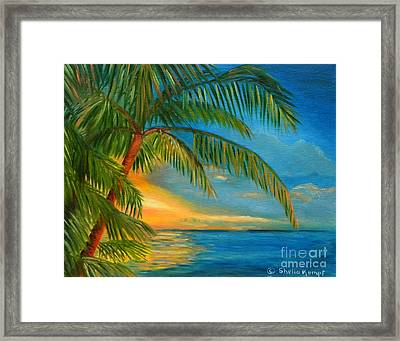 Framed Print featuring the painting Sunset Reflections - Key West Sunset And Palm Trees by Shelia Kempf