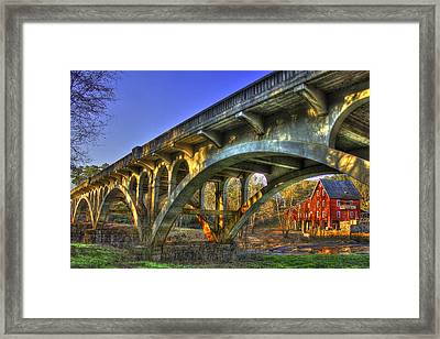 Sunset Reflections Millmore Mill Ga Hwy 16 Bridge Hancock County Framed Print