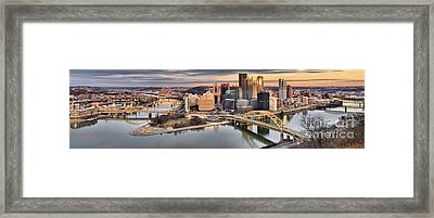 Sunset Reflections Of Pittsburgh Framed Print