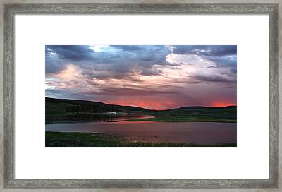 Sunset Reflections Over Yellowstone River In Hayden Valley Framed Print