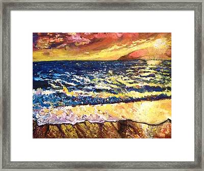 Framed Print featuring the painting Sunset Rest - Drama At Sea by Belinda Low