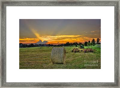 Hardwork Hayfield Sunset Art Framed Print by Reid Callaway