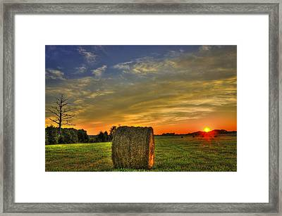 Sunset Round Bale Lick Skillet Road Framed Print by Reid Callaway