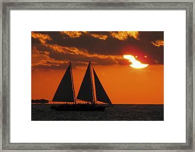 Key West Sunset Sail 3 Framed Print