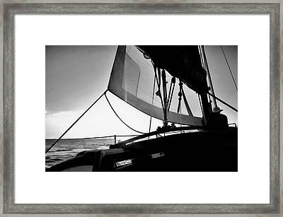 Sunset Sail In Black And White Framed Print by Pamela Blizzard