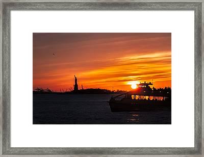 Sunset Sail On The Hudson River Framed Print by Eduard Moldoveanu