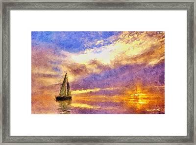 Sunset Sail Framed Print by Wayne Pascall