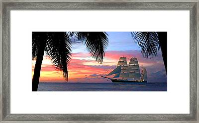Sunset Sailboat Filtered Framed Print