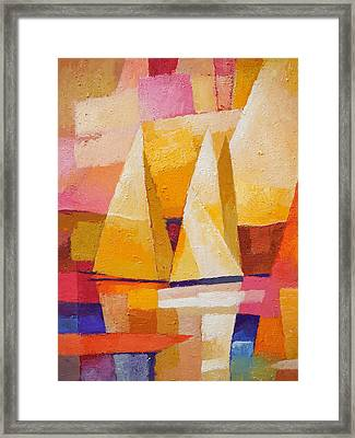 Sunset Sailboats Framed Print