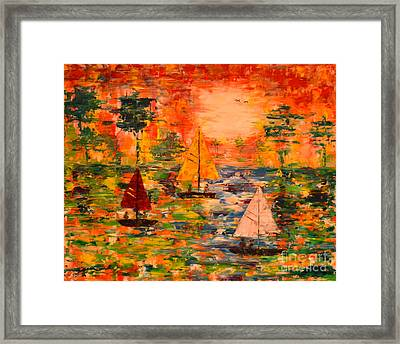 Framed Print featuring the painting Sunset Sailing by Denise Tomasura