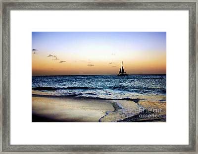 Sunset Sailing In Aruba Framed Print