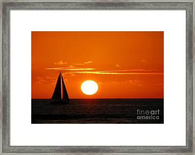 Framed Print featuring the photograph Sunset Sailing by Kristine Merc