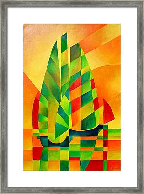 Framed Print featuring the painting Sunset Sails And Shadows by Tracey Harrington-Simpson