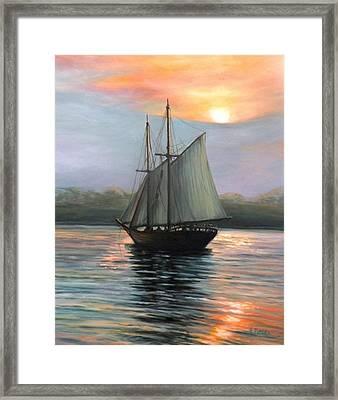 Sunset Sails Framed Print by Eileen Patten Oliver