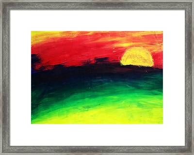 Framed Print featuring the painting Sunset by Salman Ravish