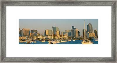 Sunset, San Diego Harbor, California Framed Print by Panoramic Images