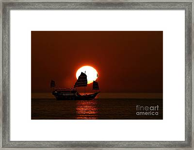 Framed Print featuring the photograph Sunset Sanpan by Shirley Mangini