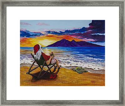 Sunset Santa Framed Print