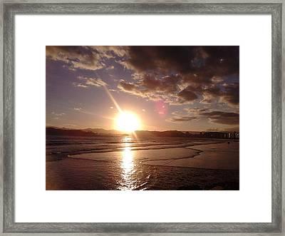 Sunset Santos Brazil Framed Print by Vera Radoja de Vasconcelos