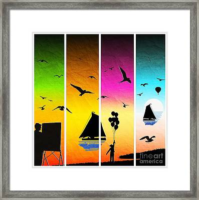 Sunset Seascape With Sailboats Framed Print by Stefano Senise