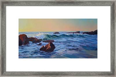 Sunset Session Wood's Cove Framed Print