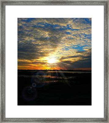 Sunset Sets Off Cloud Explosion Framed Print