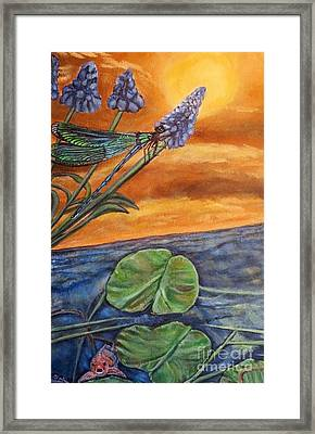 Framed Print featuring the painting Sunset Setting Over A Dragonfly On A Water Lily Pond by Kimberlee Baxter