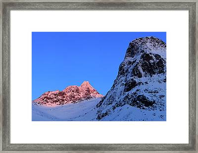 Sunset Shines On Snow-covered Rugged Framed Print