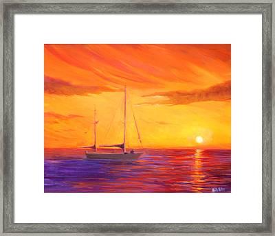 Sunset Ship Framed Print by Rich Kuhn