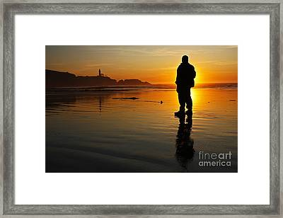 Sunset Silhouette At Yaquina Head Thirty Nine Framed Print by Donald Sewell