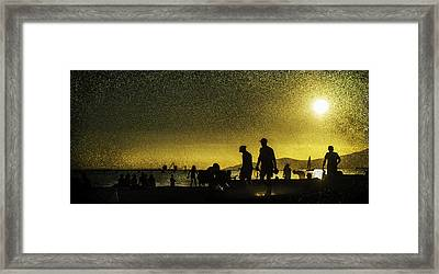 Framed Print featuring the photograph Sunset Silhouette Of People At The Beach by Peter v Quenter