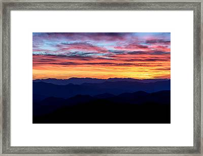 Sunset Silhouette On The Blue Ridge Parkway Framed Print by Andres Leon